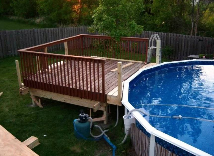 11 Most Popular Above Ground Pools With Decks Awesome Pictures Above Ground Pool Decks Pool Deck Plans Above Ground Swimming Pools