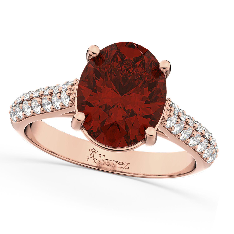 Oval & Diamond Engagement Ring 18k Rose Gold (4