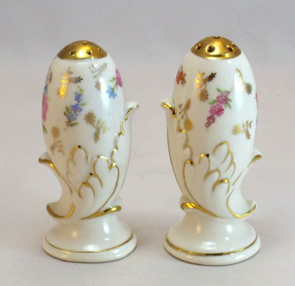 antique gilded dresden roses flowers rare vintage floral salt pepper shakers. Black Bedroom Furniture Sets. Home Design Ideas