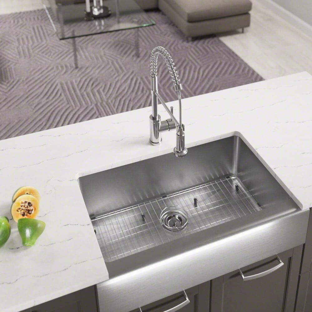 Mr Direct All In One Farmhouse Apron Front Stainless Steel 32 3 4 In Single Bowl Kitchen Sink 405 Ens Double Bowl Kitchen Sink Single Bowl Kitchen Sink Stainless Steel Apron Sink