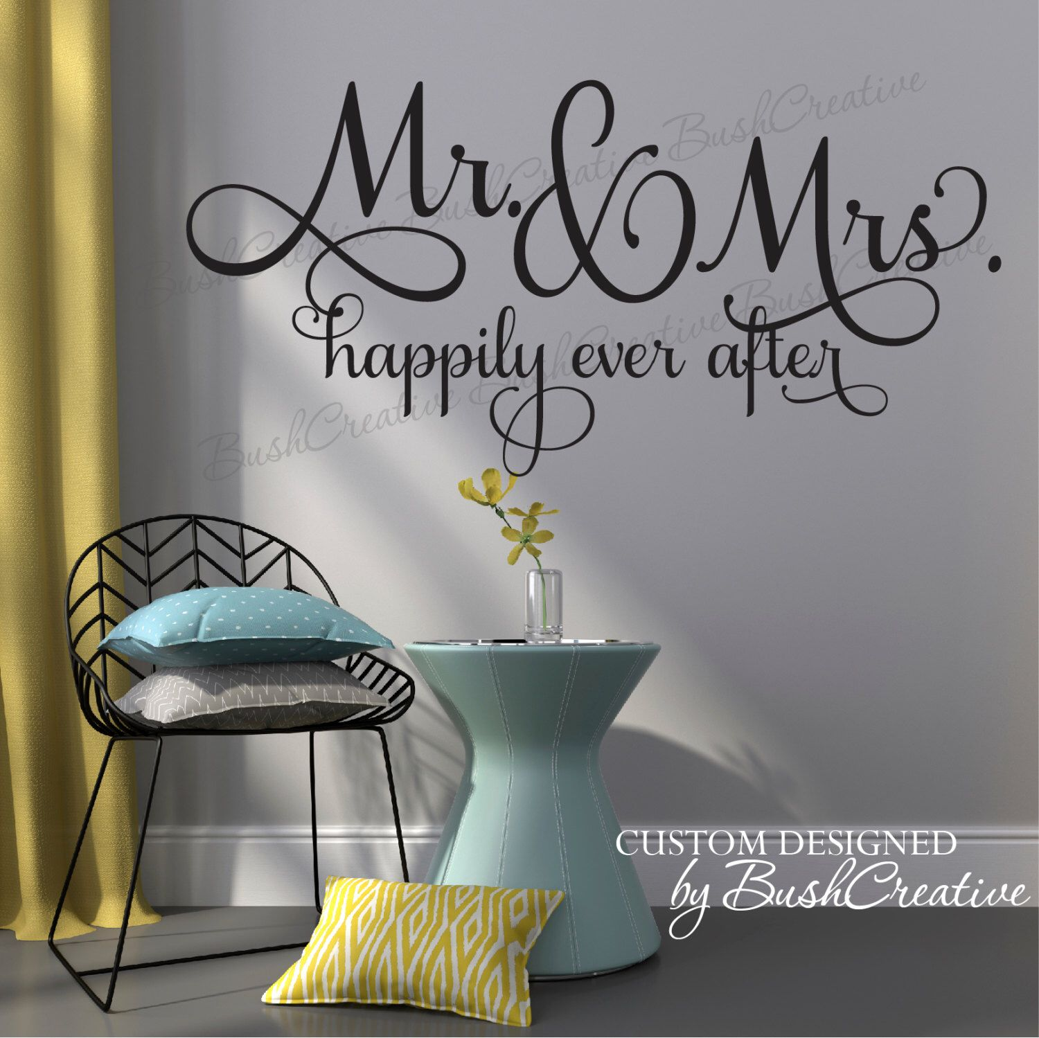 Mr Mrs Happily Ever After Mr And Mrs Wedding Decal Sign Wall - Custom vinyl wall decals diy