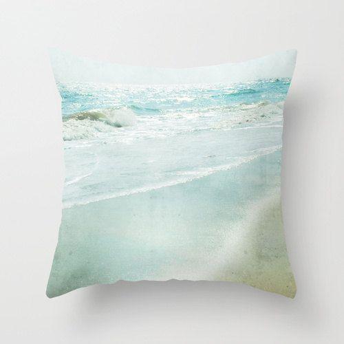 Pillow Cover Ocean Photography Pillow Aqua Teal Pillow Seashore Decorative Pillow Beach Bedding Ocean Living Room D Photography Pillow Pillows Teal Pillows