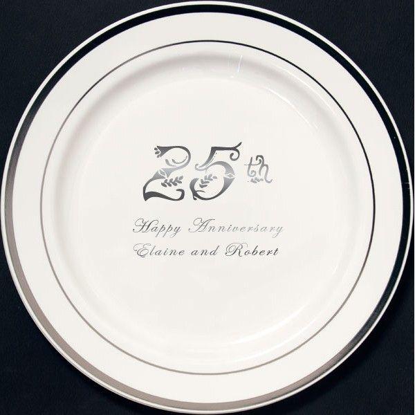 10 In Custom Printed Reusable Silver Trim Plastic Wedding Plates Set Of 25