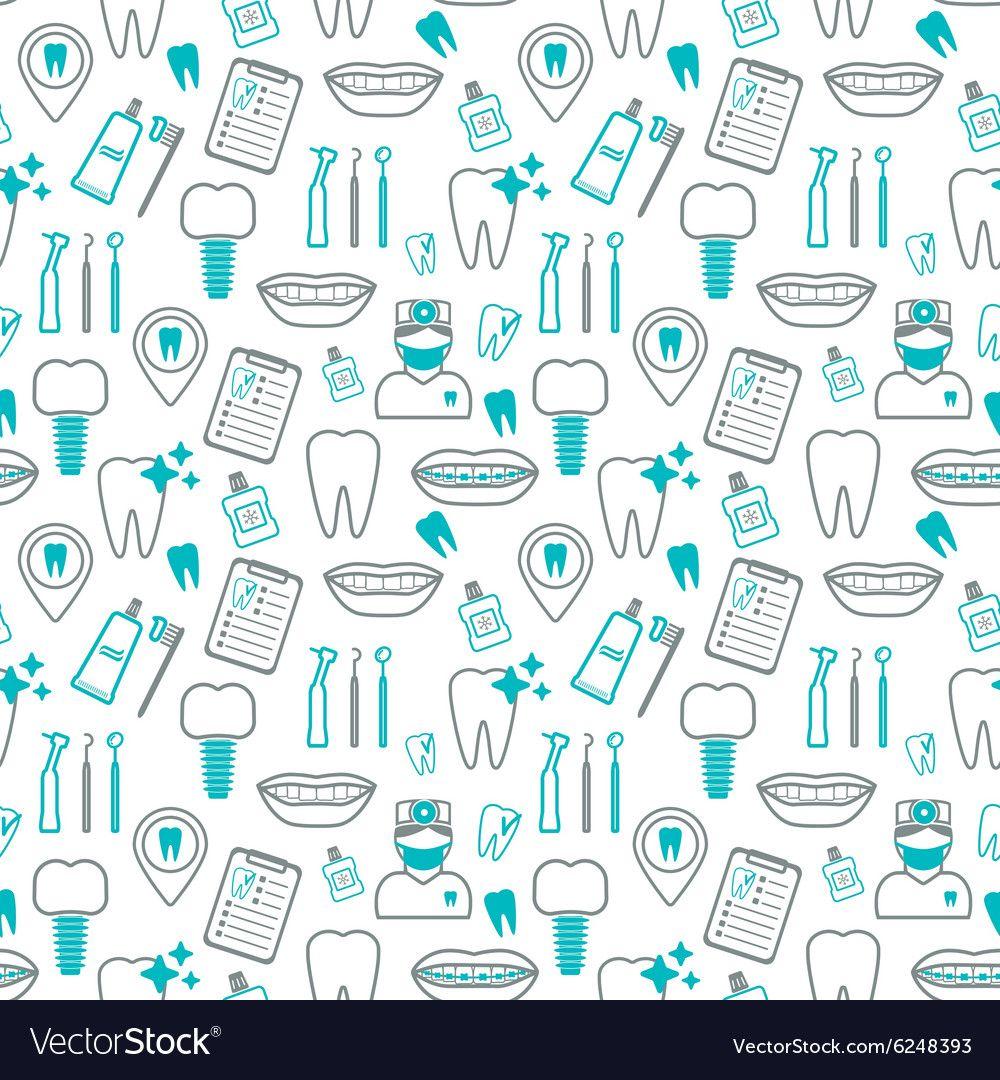 Dental seamless pattern Linear icons Flat design vector