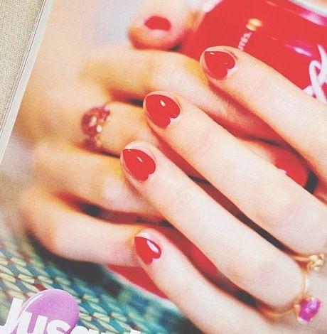 Heart nails #valentinesday