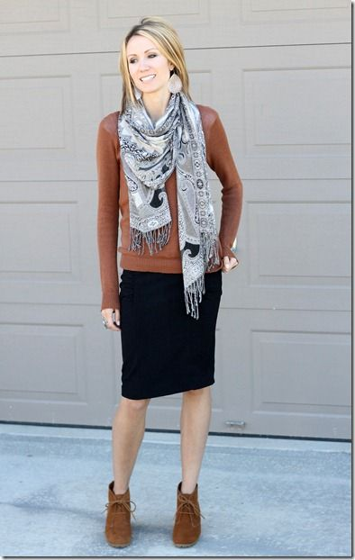 brown gray black scarf pencil skirt ankle boots