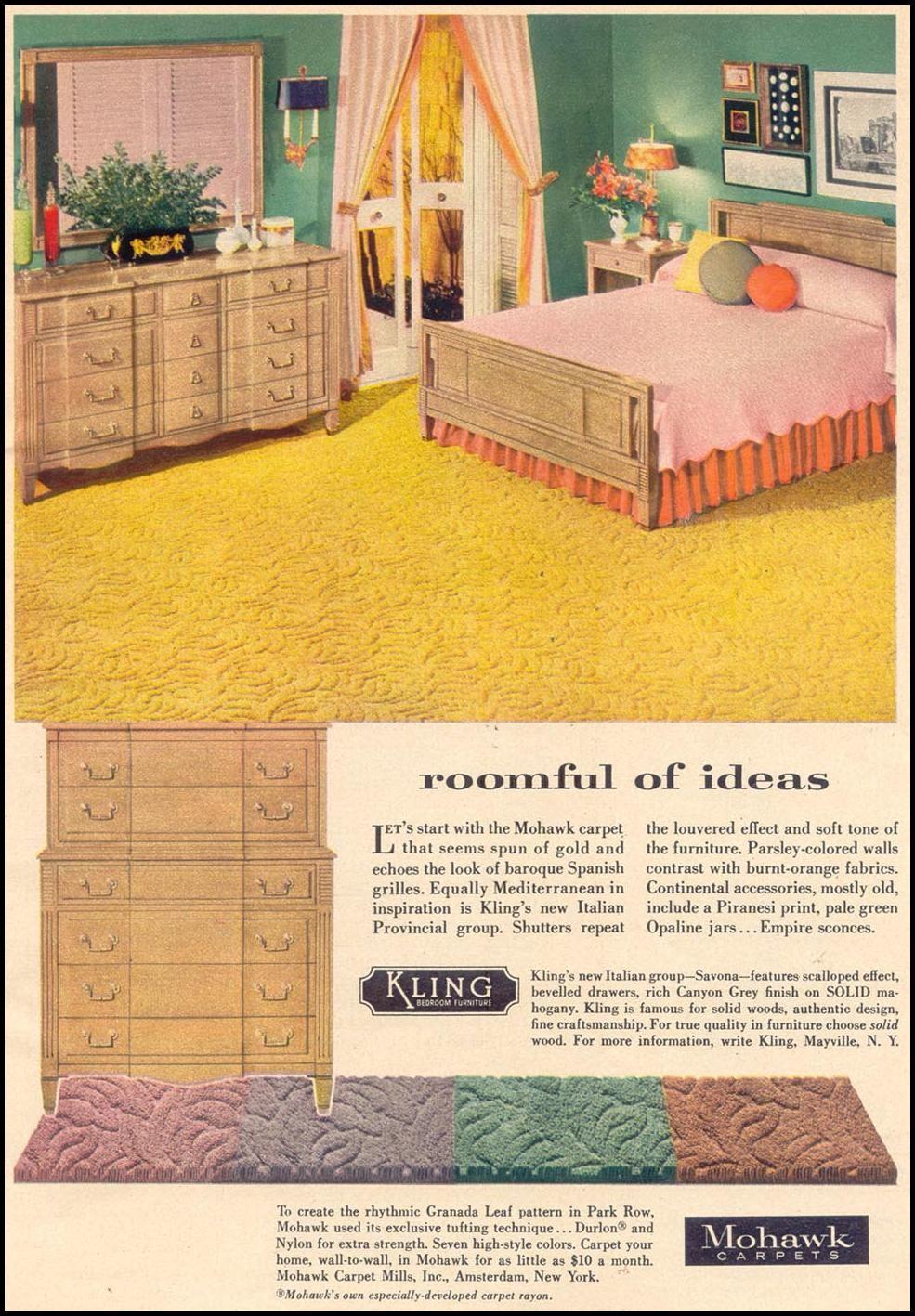 MOHAWK CARPETS WOMAN\'S DAY 11/01/1955 p. 17   Googie, Mid-Century ...