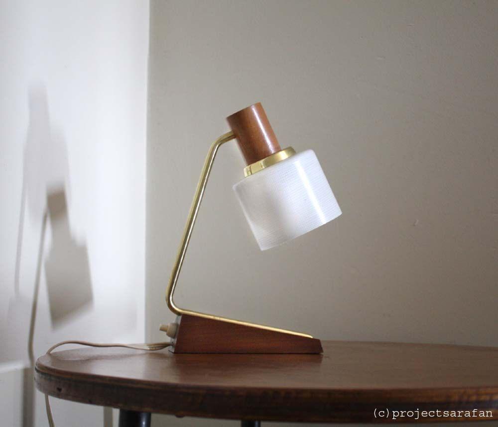 Small 1960s Table Lamp Minimalist Danish Style Wooden Teak Base Gold Metal Detail Glass Lamp Shade Table Lamp Scandinavian Interior Minimalist Scandinavian