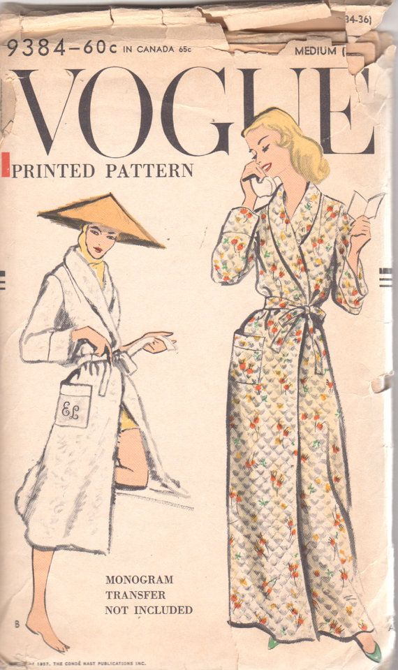 Vogue 9384 1950s Misses Very Easy Wrap Robe Pattern Shawl Collar ...