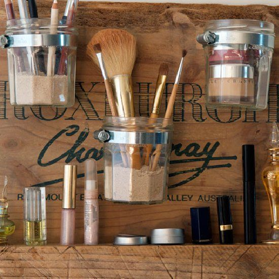 Create your very own beauty station where everything fits. An easy tutorial showing how to make your own with reused jars and timber. Enjoy!