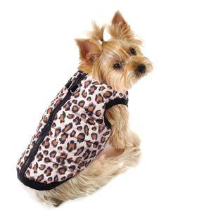 Simply Dog Leopard Fur Bomber Dog Jacket Brown Multiple Sizes