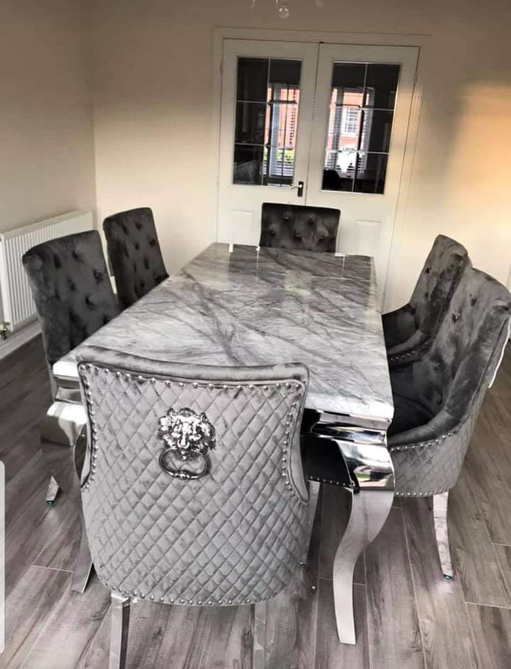 Chelsea Grey Solid Marble Dining Table Set Majestic Chairs In