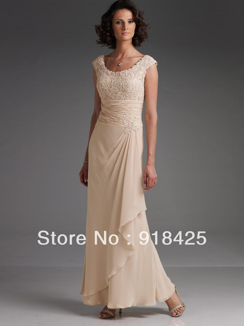 Fashion Ankle Length Maxi Champagne Lace Chiffon Mother of the ...
