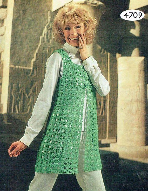 bfe487511 4709La ladies waistcoat crochet summer wear for ladies vintage ...
