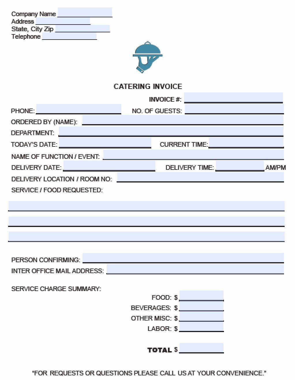 30 Catering Order Form Template Free In 2020 With Images