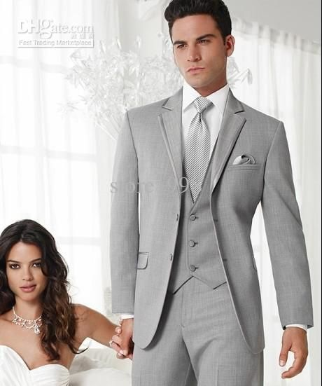 2 Buttons Light Grey Groom Tuxedos Notch Lapel Groomsmen Men ...