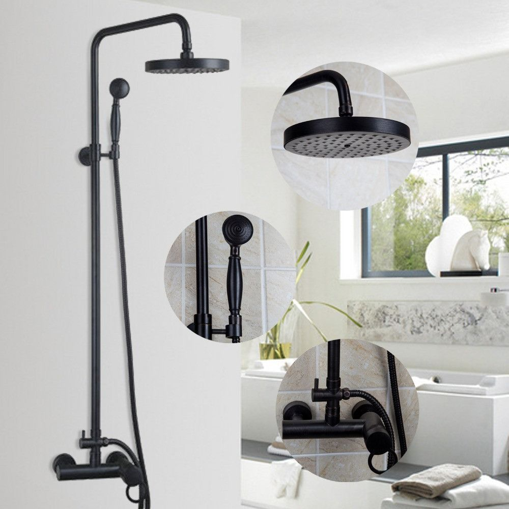 ORB Finish Luxury Wall Mounted Rain & Rainfall Shower Faucet Set ...