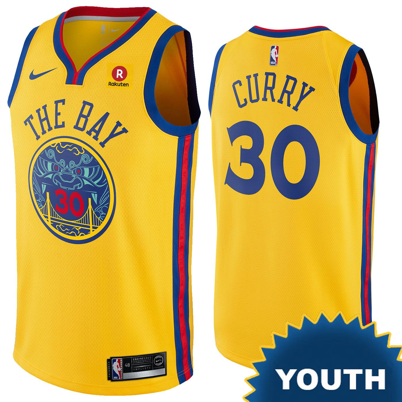 e6af1f1aa Golden State Warriors Nike Dri-FIT Youth Chinese Heritage  The Bay  Stephen  Curry