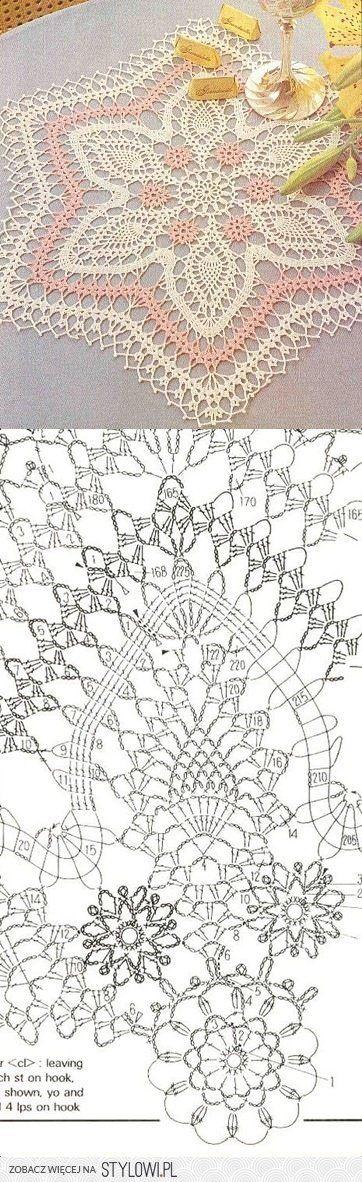 Crochet Lace Doily with Pattern Scheme … | Pinteres…