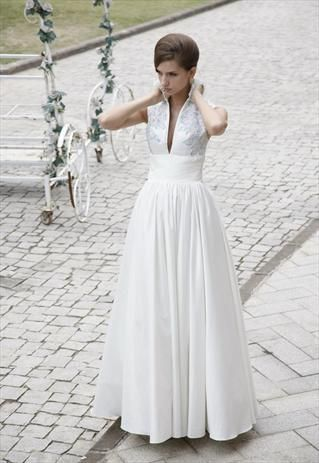 Vintage Inspired Wedding Dress with Turtle Neck 80230 from ...
