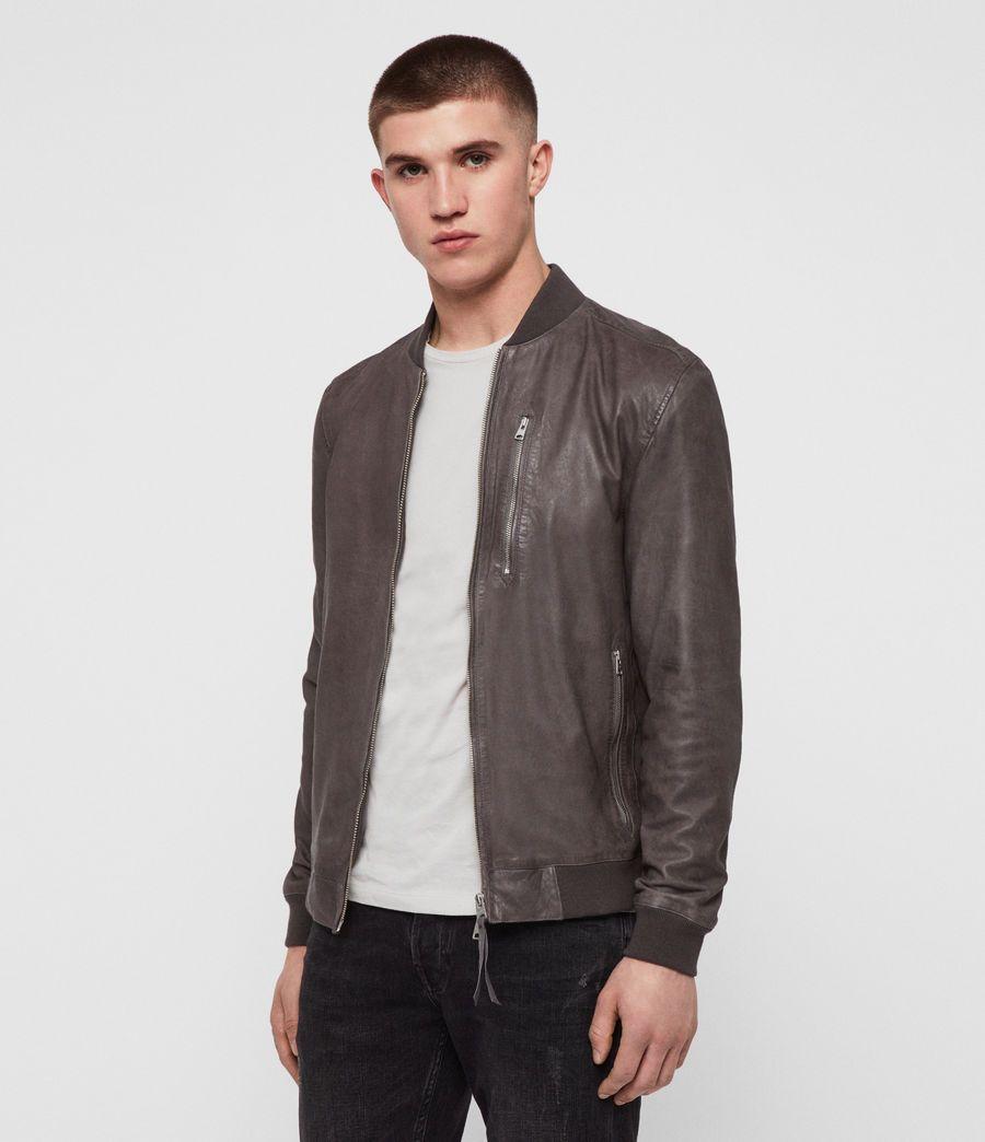Allsaints Us Mens Kino Leather Bomber Jacket Atlantic Grey Leather Jacket Men Suede Bomber Jacket Bomber Jacket [ 1044 x 900 Pixel ]