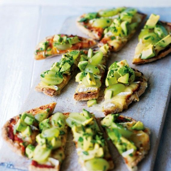 Pita pizza with Brie, avocado & grapes. #Brie #pizza #avocado #grape #gameday #snack #appetizer