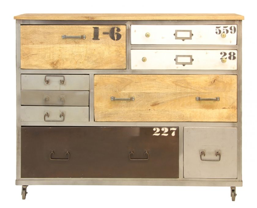 Industrial 9 Drawer Cabinet with Wheels - Cabinets | Weylandts MUST COPY THIS IDEA