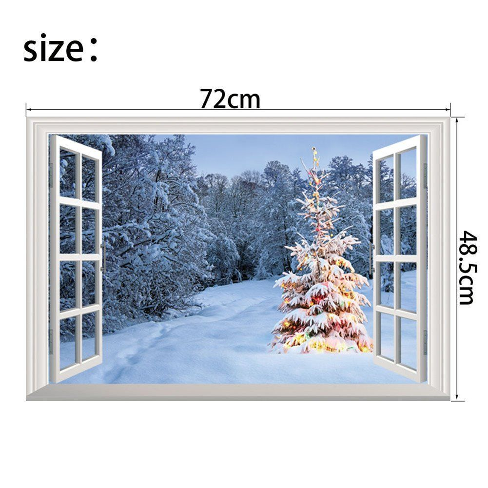 Amazon Com Vanbest Snow Scene 3d Fake Windows Three Dimensional Wall Sticker Home Living Room Bedroom C Christmas Wall Stickers Wall Stickers Home Fake Window