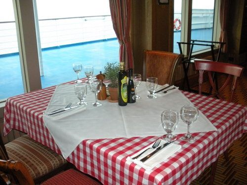 Italian table with candles and tablecloth & Where to Eat on the Carnival Magic Cruise Ship