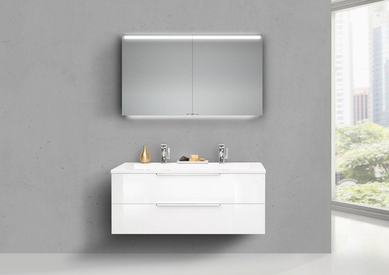 Design Badmobel Kuba 120 Cm Doppelwaschtisch Weiss Hochglanz Mit Unterschrank Led Spiegelschrank Made Living Onl Unterschrank Doppelwaschtisch Spiegelschrank