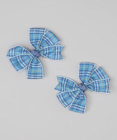 Look at this #zulilyfind! Blue Plaid Cartwheel Bow Clip Set by Loopy Loos #zulilyfinds