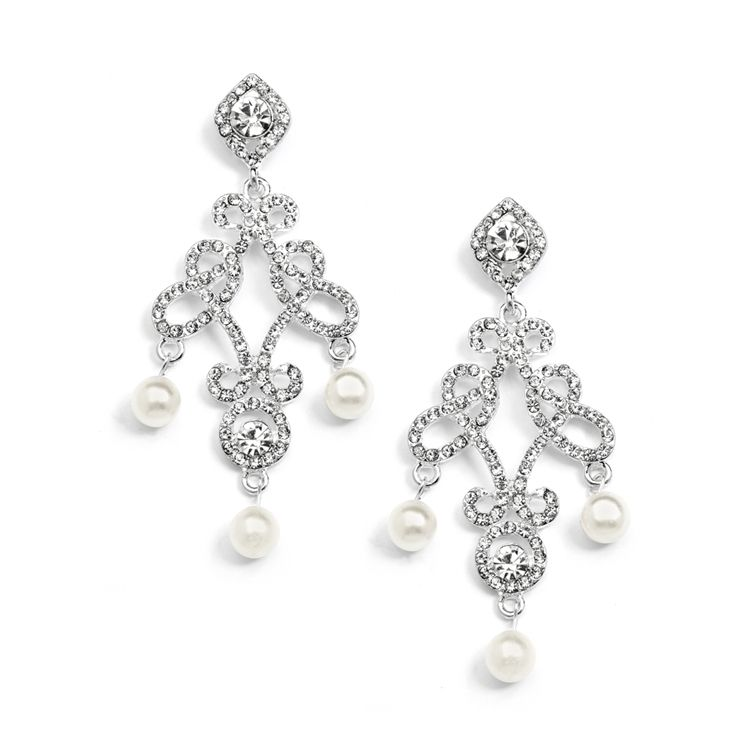 Glamorous Vintage Inspired Pearl Chandelier Wedding Earrings - Affordable Elegance Bridal -