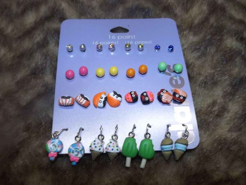 16 pk multi colored sweets sushi stud and dangle earrings foodie fun Pop culture