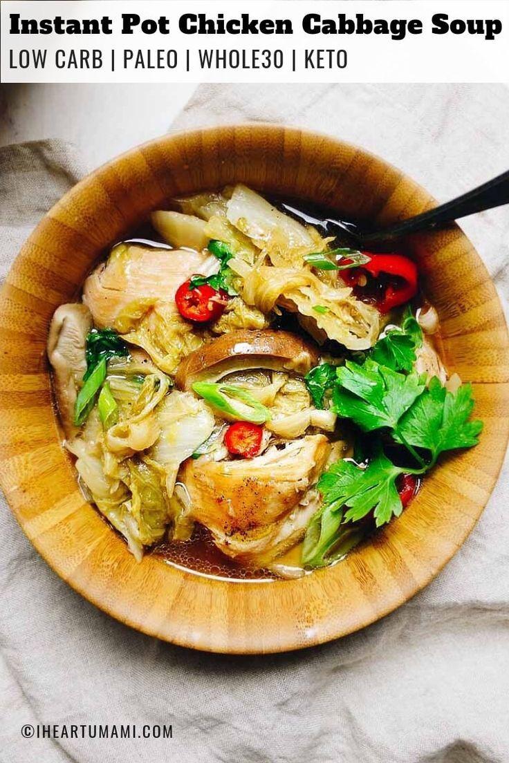 Instant pot chicken cabbage soup paleo whole30 keto