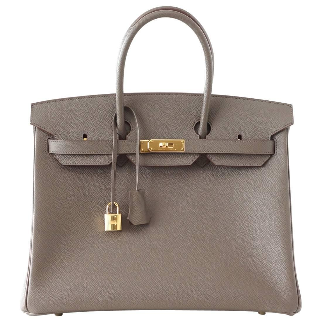085bf67fd15 HERMES BIRKIN 35 bag ETAIN gray epsom gold hardware | From mightychic at  https:/