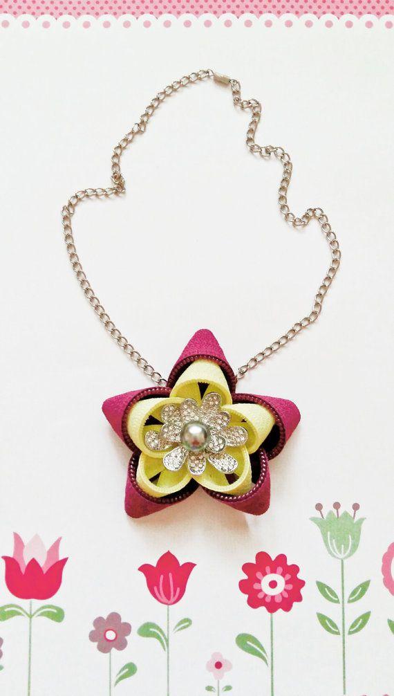 Zipper necklace Flower necklace Zipper jewelry by NasttiaDesigns