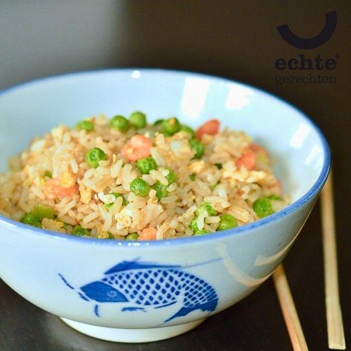 Fried rice, always a good idea!  Gebakken rijst, altijd een goed idee! #friedrice #chineeseten #chinesefood #chinese #echtegerechten #proefchina #shrimp #peas #doperwten #sesamoil #soysauce #foodbox