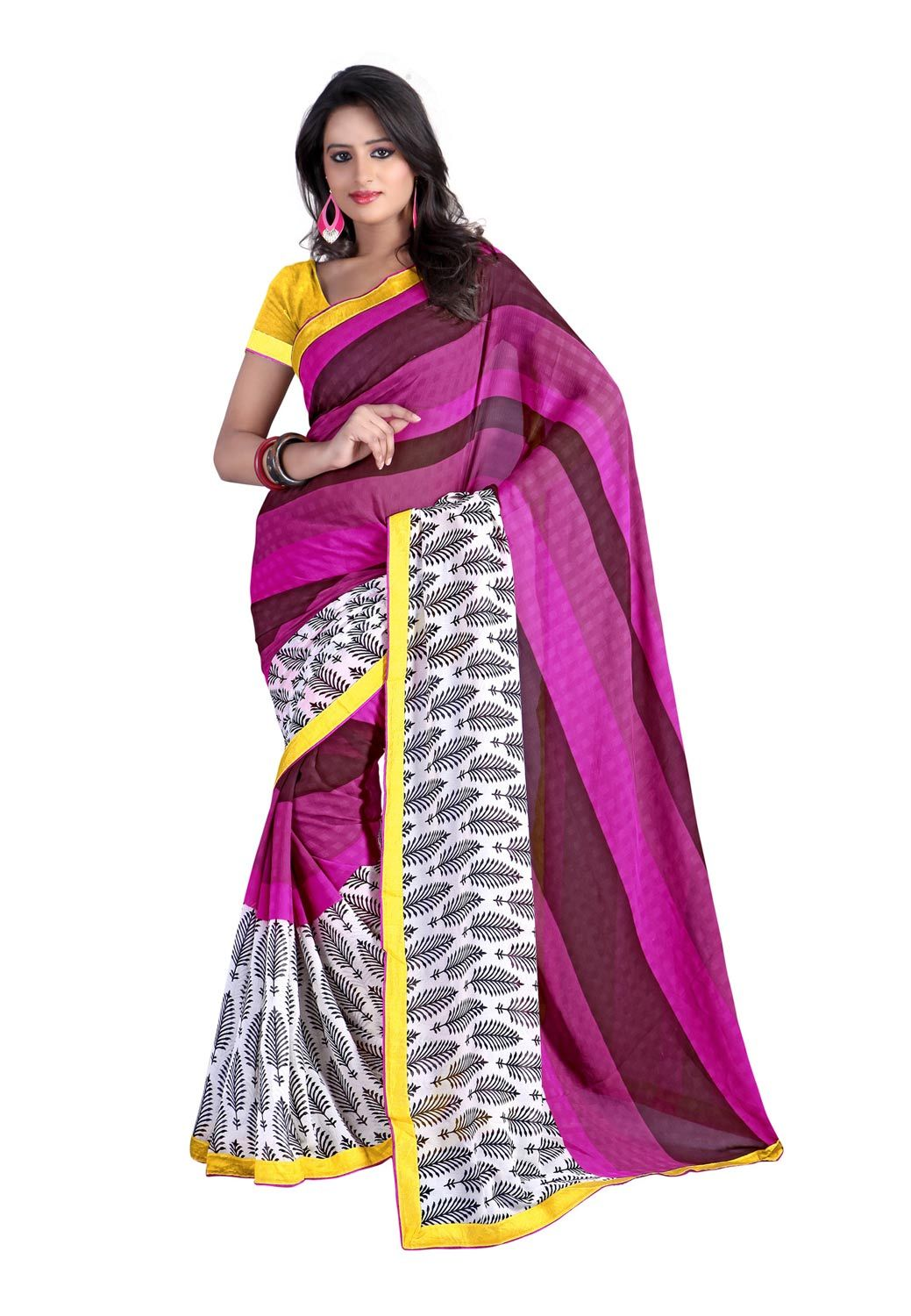Images of saree shop fabdeal pink and white colored chiffonsaree online at lowest