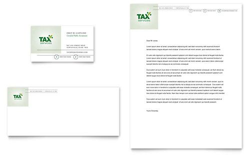 Accounting  Tax Services Business Card  Letterhead Template By