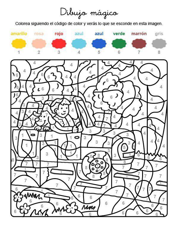 Dibujo Magico De Un Perro De Vacaciones Dibujo Para Colorear E