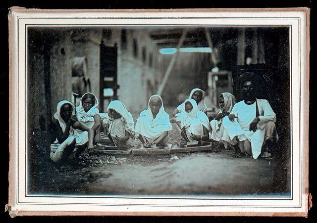 Women Grinding Paint: Calcutta c1845- Daguerrotype Photo