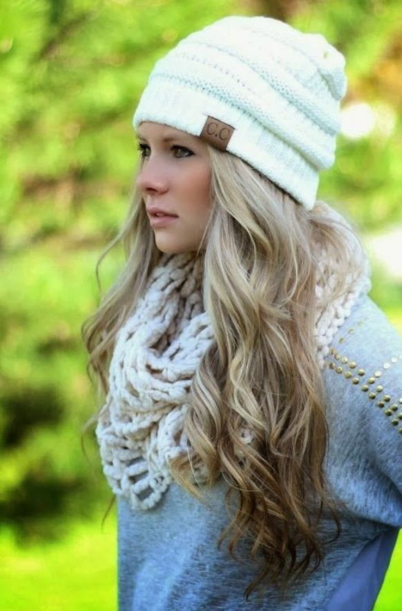 0f8a0c602f9 The slouchy Ivory knit CC Beanie is a must for winter. Check out the other  colors available here. Please note- All head wear is all sales final.