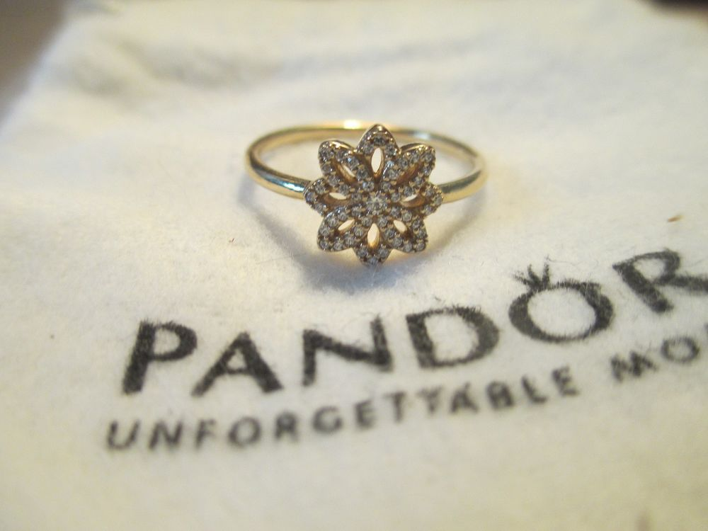c31c0ff32 Authentic PANDORA 'Lace Botanique' Ring Size 7.5 14k Gold 150182CZ new # Pandora #150182CZ