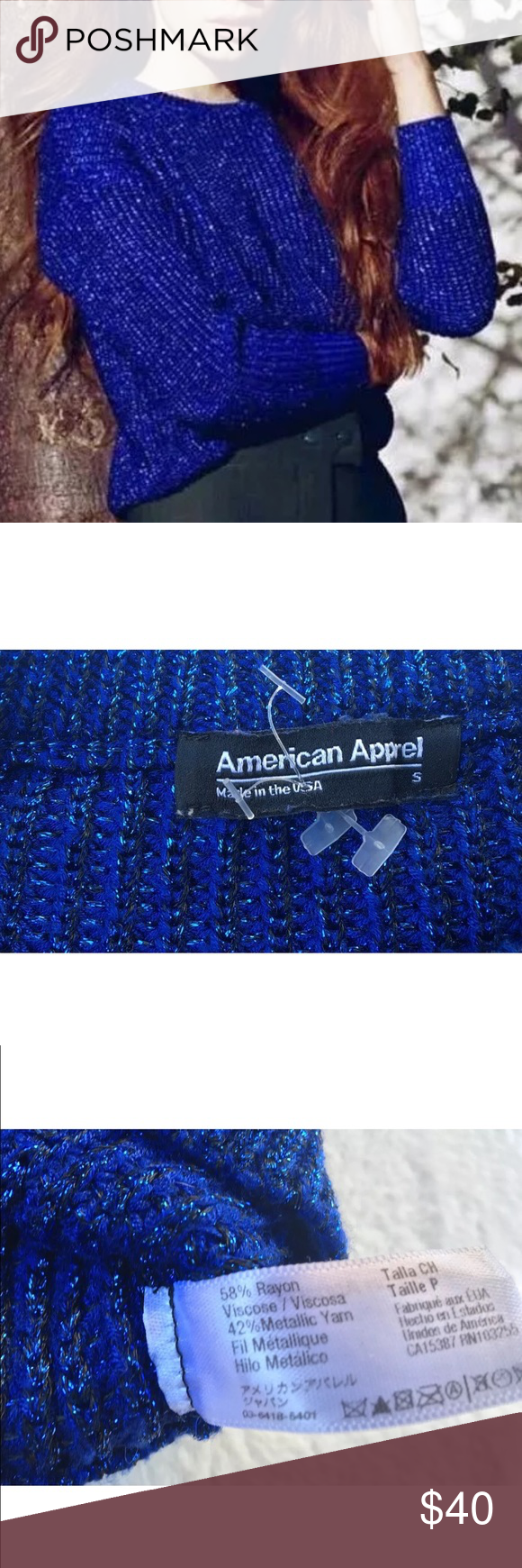 NEW American Apparel metallic pullover sweater New without tags. American Apparel Blue Metallic Fisherman's Pullover Chunky Knit Sweater. There was a small tear at the shoulder hem that was restitched- not noticeable and does not affect function at all- refer to last picture. Size Small. American Apparel Sweaters