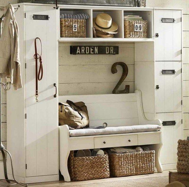 praktische Dielenmöbel - weiße Sitzbank - vintage Möbel | Möbel ...
