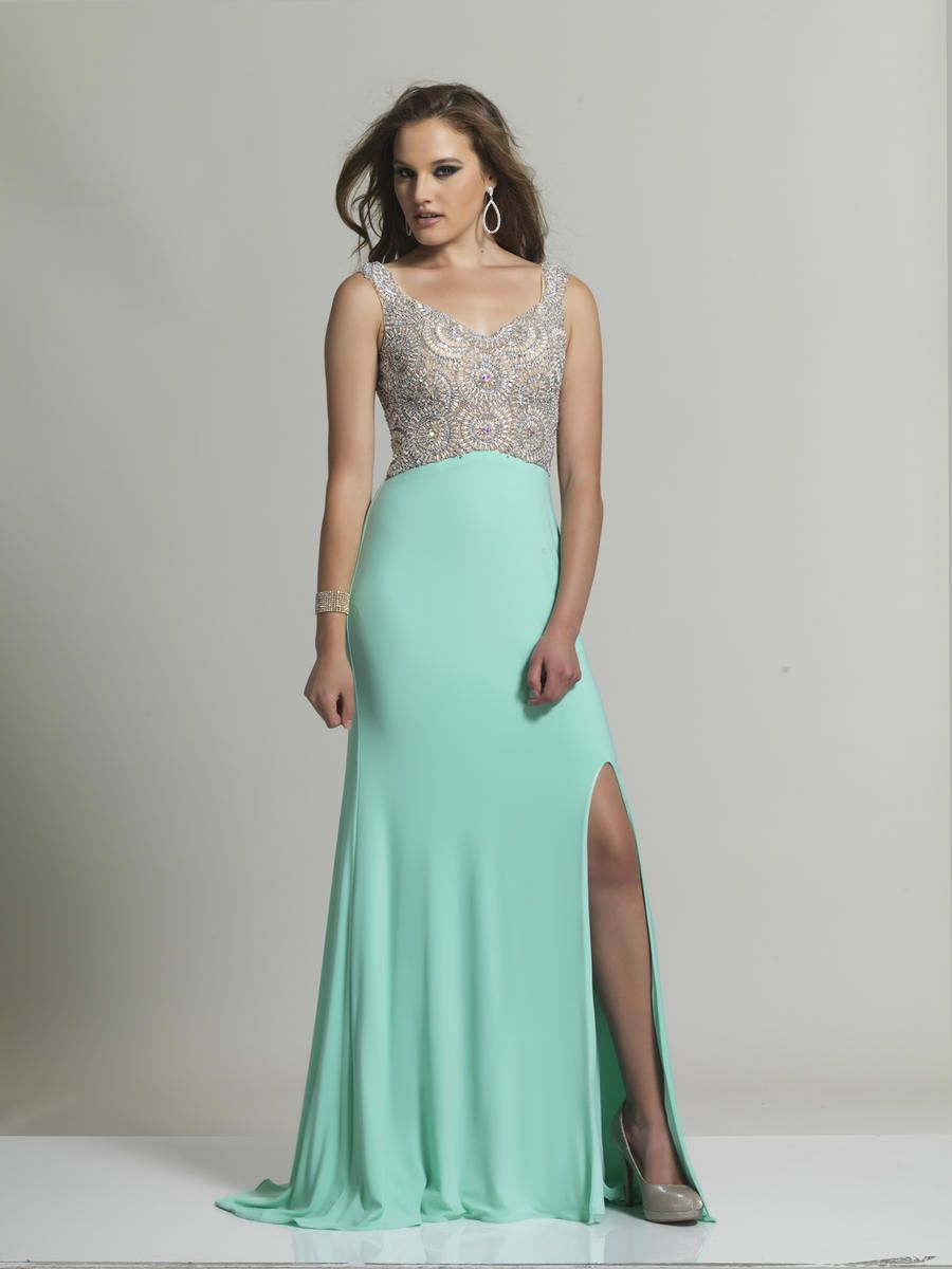 Size 0 Aqua- Dave and Johnny 2338 is a long jersey prom dress with ...