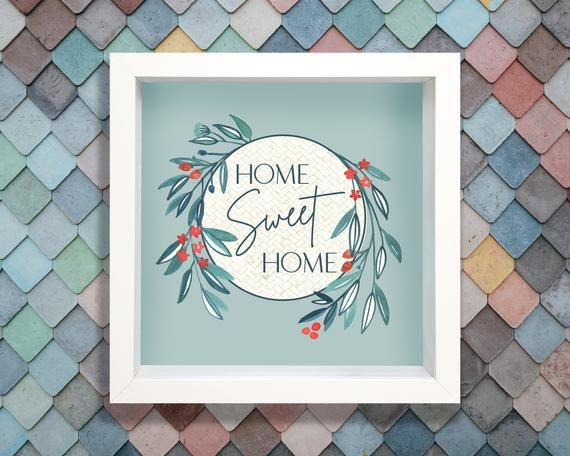 Photo of Home Sweet Home art print, printable wall decor, watercolour wreath illustration, red white and blue, shabby chic minimalist, white frame