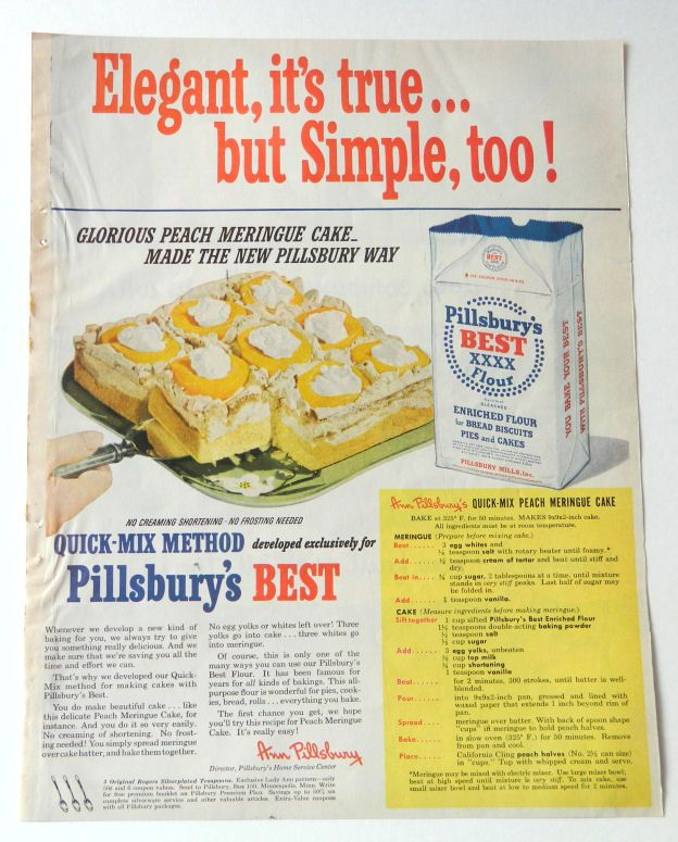 Pillsbury baking ad, vintage kitchen wall art with peach cake retro ...