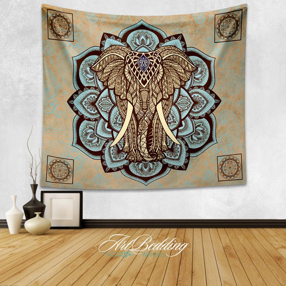 Elephant Tapestry, Lotus Wall Tapestry,Hippie Tapestry
