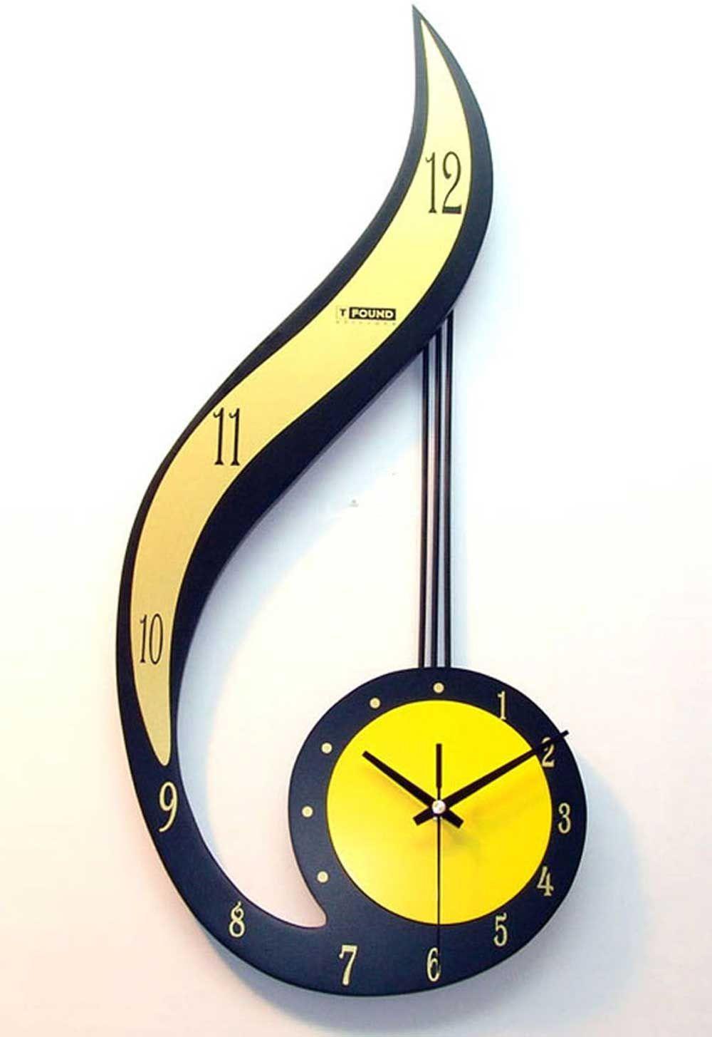 Yellow And Black Wall Clock Design Unusual Clocks Wall Clock